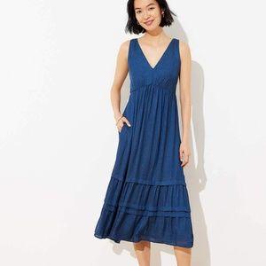 LOFT Spotted Tiered Pocket Mini Dress